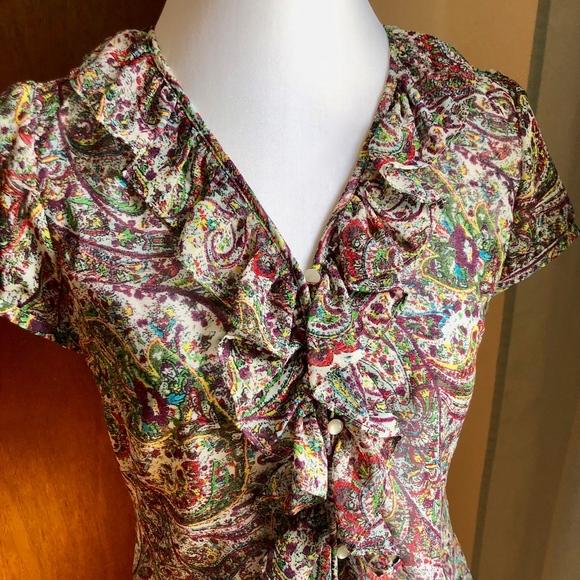 LOFT Tops - LOFT Ruffled Multi-Color Paisley Blouse Top, NWOT